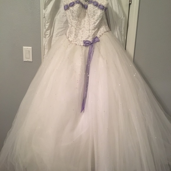 Mori Lee Dresses | White And Lavender Wedding Dress | Poshmark